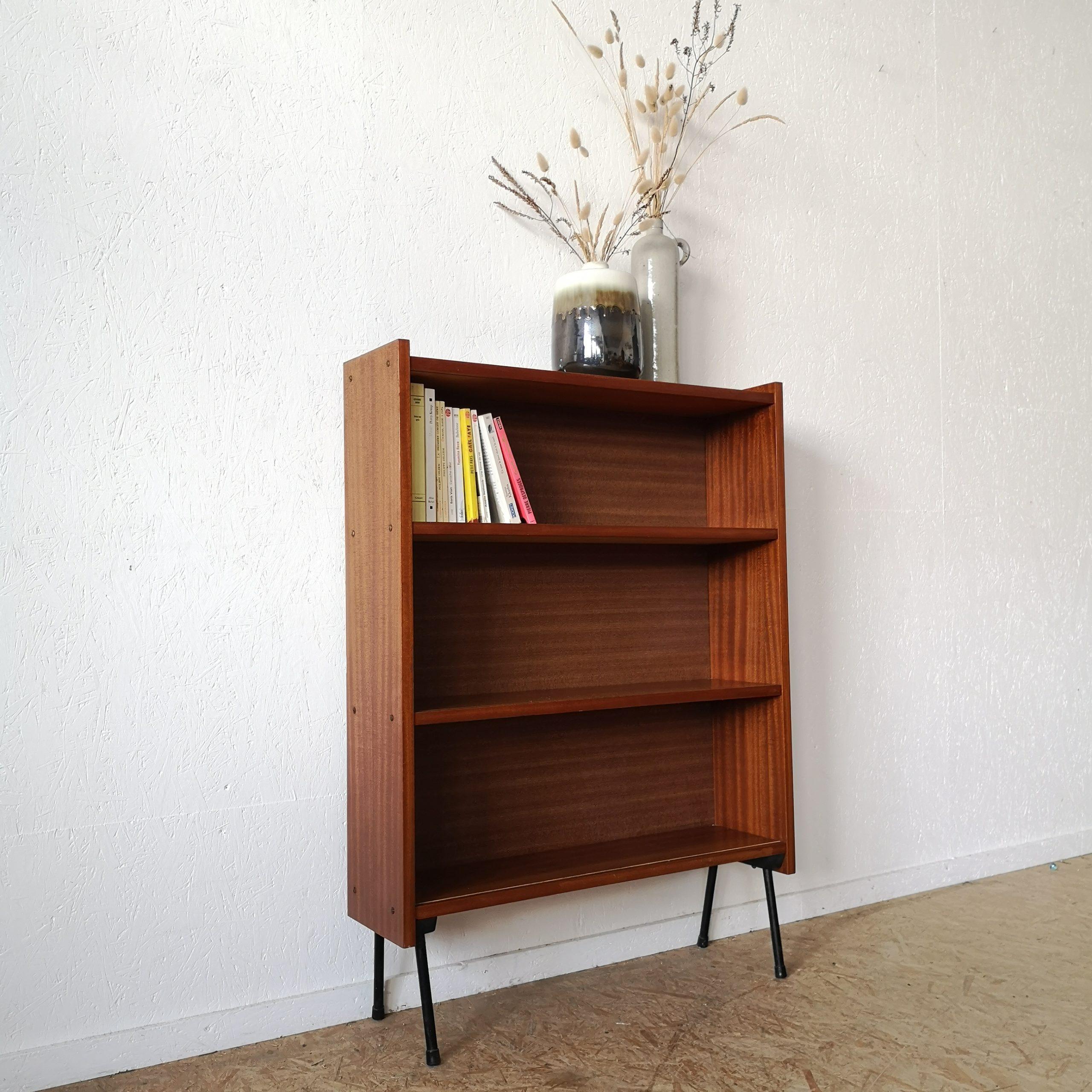 petite bibliotheque bois exotique vintage